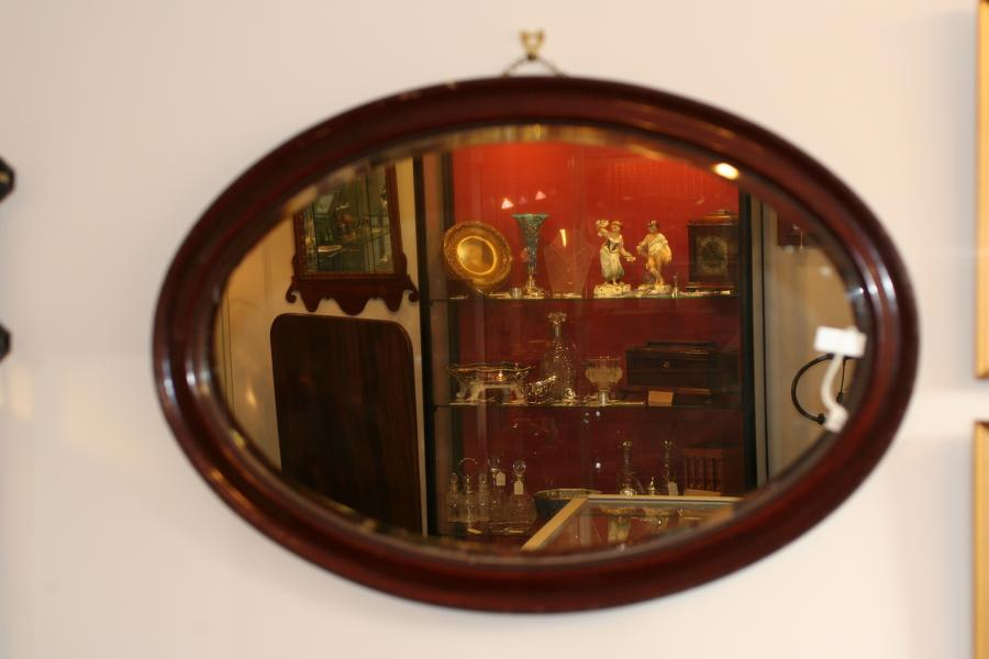 Mirror - Oval Mahogany Mirror