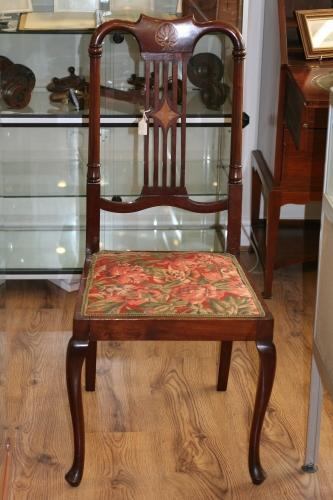 Edwardian Mahogany & Satinwood Inlaid Chair